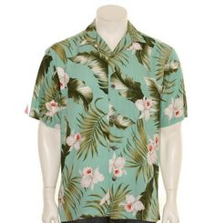 Paradise Bay Green Floral Aloha Shirt 100% Rayon Matching Left Chest Pocket Genuine Coconut Buttons Made in Hawai'i Hand Wash or Dry Clean For Best Result.