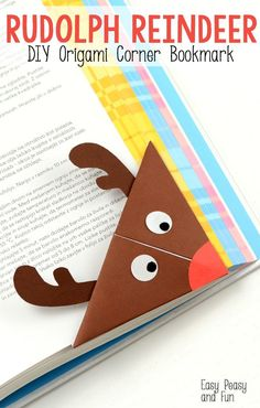This is a super fun project for origami beginners and kids, plus a great little one to encourage reading! Let's make a Rudolph Reindeer origami corner bookmark. We had a lot of fun with monster… Christmas Activities, Christmas Crafts For Kids, Craft Activities, Simple Christmas, Kids Christmas, Holiday Crafts, Reindeer Craft, Origami Reindeer, Corner Bookmarks