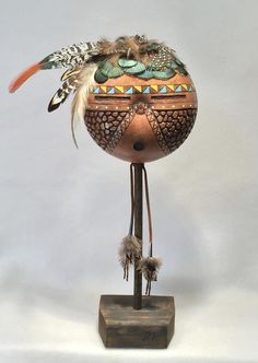 Feather Crafts To Sell – feather crafts African Pottery, Indigenous Art, Art Dolls, Native Art, Indian Pottery, Africa Art Design, Pottery Painting Designs, Masks Art, Painted Gourds