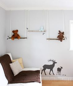 DIY Branch Swing Shelves for hanging stuffed toys, hats, clothes, books, magazines, or artwork. An easy kids room shelf project!