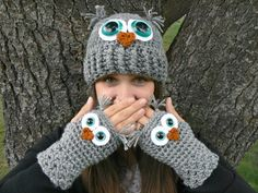 Adult Owl Hat with Aqua Safety Eyes and by MakingsofShannaTice, $26.00