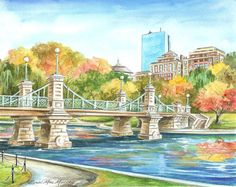 Boson Public Garden in the Fall by Renee' by MacMurrayDesigns, $16.00
