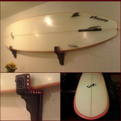 DIY surfboard wall rack. You can find everything you need in your craft store and Home Depot