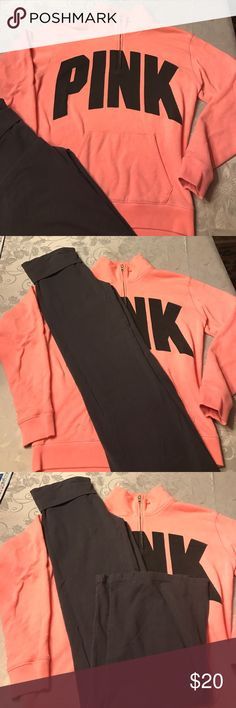Victoria's Secret PINK quarter zip and VS yogas Bundle. Small VS (not pink) yogas with flared legs and XS PINK quarter zip sweatshirt. Shirt has a few small stains and pilling. Pants are very good condition. Will separate on request. PINK Victoria's Secret Tops Sweatshirts & Hoodies