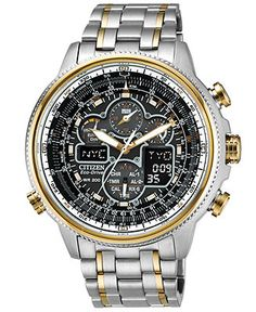 Citizen Watch, Men's Eco-Drive Navihawk A-T Two-Tone Stainless Steel Bracelet 48mm JY8034-58E - Men's Watches - Jewelry & Watches (Macy's)