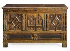 Massachusetts chest (joined oak with maple and cedar), ca. 1690. [Photo courtesy of Sotheby's].