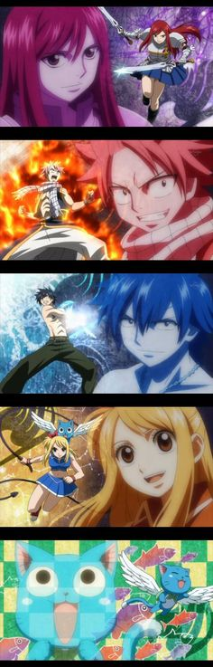 FAIRY TAIL Erza Scarlet, Natsu Dragneel, Gray Fullbuster, Lucy Heartfilia & Happy.
