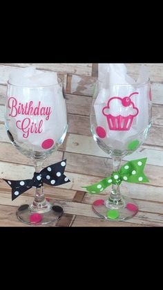 Happy Birthday Wine Glass by Justcheerbows on Etsy, $12.95 #wine