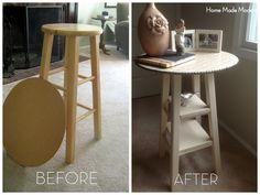 DIY Nightstand from bar stool