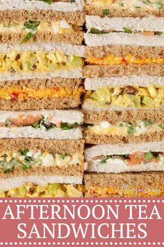 Tea Party Sandwiches Recipes, Tea Recipes, Cooking Recipes, Sandwiches For Parties, Mini Sandwich Appetizers, Healthy Recipes, Dinner Recipes, Afternoon Tea At Home, Afternoon Tea Parties
