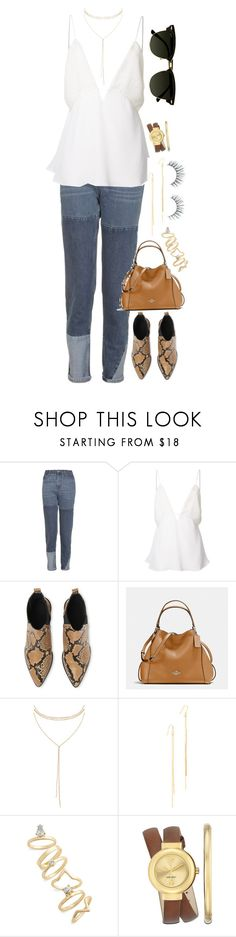 """Venezia"" by paolasofiaburgos ❤ liked on Polyvore featuring Topshop, Christopher Esber, Whistles, Coach, Humble Chic, Kenneth Jay Lane, Nine West, Unicorn Lashes and Pippa"
