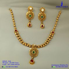 Gold 916 Premium Design Get in touch with us on Gold Jewelry Simple, Simple Necklace, Necklace Set, Gold Necklace, Gold Mangalsutra Designs, Gold Earrings Designs, Necklace Designs, Gold Chain Design, Gold Jewellery Design