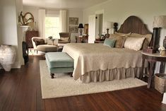 Farmhouse master bedroom, neutrals, taupes, browns, turquoise accents; paint color: Titanium OC-49 in eggshell by Benjamin Moore