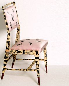 Prototype of a chair designed by Gio Ponti and lithographed with Piero Fornasetti's Farfalle (Butterflies) decoration.