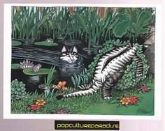 B. KLIBAN (Bernard) CATS ART POSTCARD Kitty skinny dipping swim | eBay