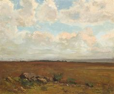 Odilon Redon (1840 - 1916),  Paysage aux environs de Peyrelebade, oil on canvas,  18.12 x 21.69 in. (46 x 55,1 cm.)