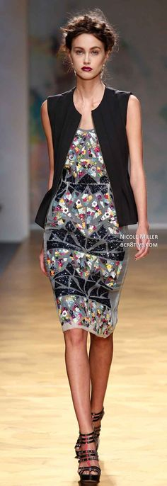 Nicole Miller Spring 2014...Love the dress without the vest.
