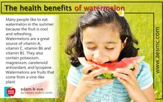 #Health Benefits of #Watermelon ADAM & EVE Specialized Medical Centre PO Box : 32866, Near Royal Rose Hotel Pink Building (501) Floor 01 Electra Street,Abu Dhabi,UAE Contact Us : +971 2 676 7366 / +971 52 1555 366 / 055 1555 366 Email : info@aesmc.com visit us - www.aesmc.com