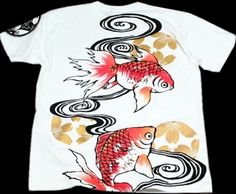 """Rakuten: A Kyoto yuzen / sum pattern T-shirt """"goldfish"""" (wave / fortune / style / parent and child pair existence / Carly habitual use)- Shopping Japanese products from Japan"""