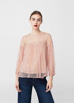 Lace panel blouse -  Woman | MANGO Denmark