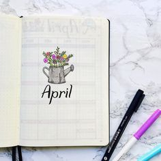 Bullet Journal April Cover Page -- Bouquet of Flowers