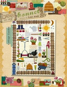 "Cottage Garden by Lori Holt pattern for 50"" x 65"" Applique Quilt $24.00 on Etsy at http://www.etsy.com/listing/100495180/cottage-garden?ref=shop_home_active"