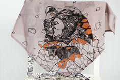 "Hand Painted Bandana In Light Violet ""Mountain Bears"" Design. $40.00, via Etsy."