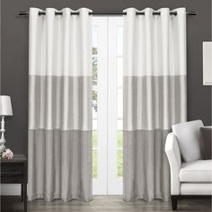 ATI Home Chateau Striped Window Curtain Panel Pair with Grommet Top (54X84 - Dove Grey)