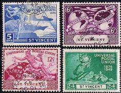 St Vincent Stamps 1949 Universal Postal Union Set Fine Used SG178-181 Scott 170 - 173 Other St Vincent Stamps HERE