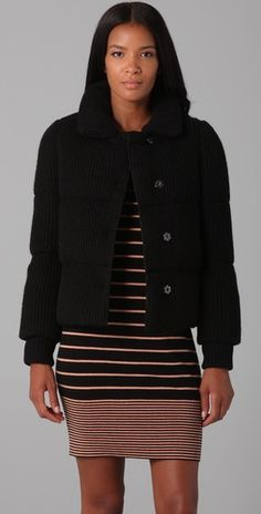 DKNY Alpaca Quilted Puffer Jacket, $272.50  #DKNY