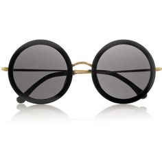 The Row Leather-trimmed round-frame acetate and metal sunglasses found on Polyvore