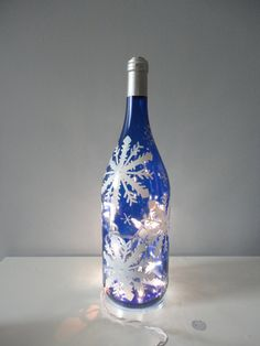 Snowflake winter wine bottle light hand painted by EricaDStrang, $35.00