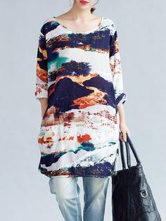 Sale 16% (20.99$) - Vintage Women Loose Ink Printing Long Sleeve Dress