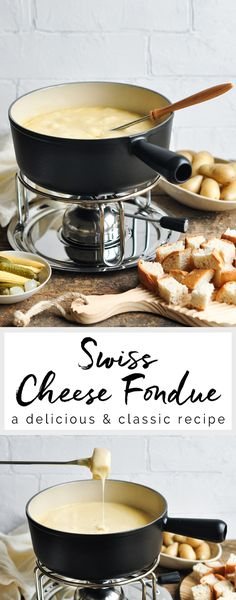 Classic Cheese Fondue #fondue #cheesefondue #swiss #cheese #switzerland #gruyere #camembert #winter