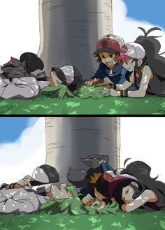 N and Touko and Touya. Pokemon Black/White