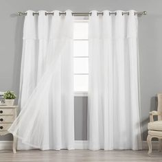 Aurora Home MIX & MATCH CURTAINS Nordic White Privacy and Sheer Grommet Curtain Panel Pair (Set of 4)