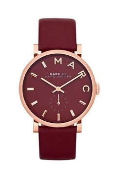 Marc Jacobs watch for oxblood accents | Oxblood Trend Still Going Strong #oxblood #falltrends #fashiontrends