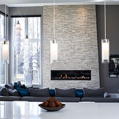 Contemporary Living Room In Grey Tones Contemporary Living Modern Stone Fireplace - Design Whit Modern Stone Fireplace, Contemporary Fireplace Designs, Stone Fireplace Wall, Stone Fireplace Designs, Fireplace Surrounds, Modern Fireplaces, Fireplace Ideas, Linear Fireplace, Contemporary Design