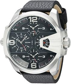 Men's Wrist Watches - Diesel Mens DZ7376 Uber Chief Stainless Steel Black Leather Watch * Click image for more details.
