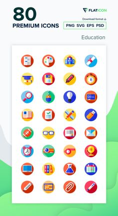 80 Education icons for personal and commercial use. Flat Circular Flat icons. Download now free icon pack from Flaticon, the largest database of free vector icons. #Flaticon #icons #teacher #education #school #college