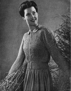 """The Butterfly Balcony 1943 Free Knitting Pattern September Beauty - Lace Knit Jumper To fit 32-36"""" Bust"""