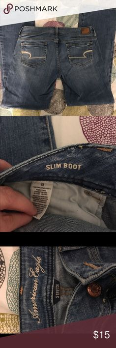 American Eagle Slimboot jeans AE slimboot jeans. Worn a couple of times, still in great condition. Will fit a small 10. Low rise American Eagle Outfitters Jeans Boot Cut