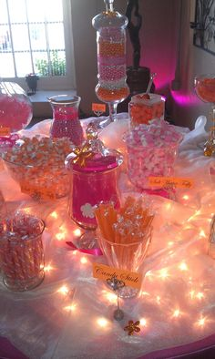 pink and orange candy station. Also use for regular buffet table. Fiesta Baby Shower, Grey Baby Shower, Girl Shower, Baby Shower Candy Table, Sweet 16 Birthday, 16th Birthday, Birthday Parties, Bonbons Baby Shower, Candy Buffet Tables