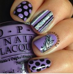 Purple nails, dots, stripes, feather