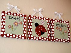 Sweet Dreams LadyBug Paintings With HandStitched by BabySullysArt