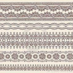 Henna Mehndi Doodle Vector Border Design Elements