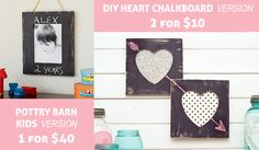 How-to Craft: PB Kids Inspired DIY Valentine Heart Chalkboard Frames
