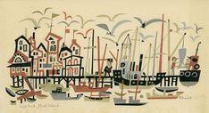 "Jim Flora, ""Salt Pond - Block Island"", tempera and pencil on paper, 1963"