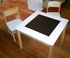 Beautiful Modern Kid's Table and Chairs with Chalkboard Top. $299.00, via Etsy.