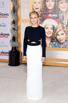 Kristen Bell Cutout Dress - Kristen Bell went sleek and modern in a black-and-white cutout column dress by Michael Kors at the premiere of 'A Bad Moms Christmas.'
